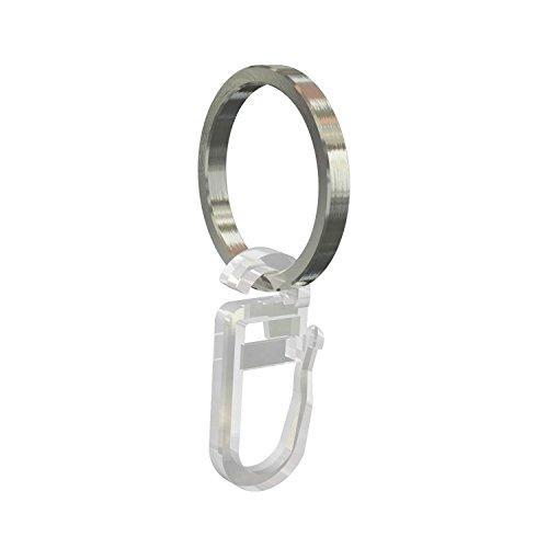 Flairdeco Gardinenringe / Ringe mit Faltenhaken, Edelstahl, 25/21 mm, 20 Stück