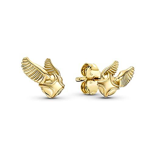 Pandora Harry Potter 260025C00 - Pendientes de aleación chapada en oro de 14 quilates