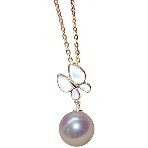 Oro De 18 Quilates Perla Mariposa Colgante Plata De Ley 925 / Oro De 18 Quilates Cadena Collar, Boda Aniversario Regalos (Color : 8~8.5MM, Tamaño : Chain~18K Gold)