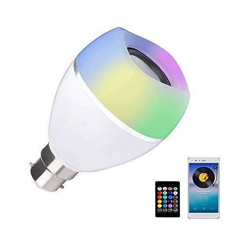 B22 LED-Leuchtmittel mit Lautsprecher, RGB + weiße Farbwechsel-Lampe, integrierter Audio-Lautsprecher mit Fernbedienung für Zuhause, Schlafzimmer, Wohnzimmer, Party-Dekoration