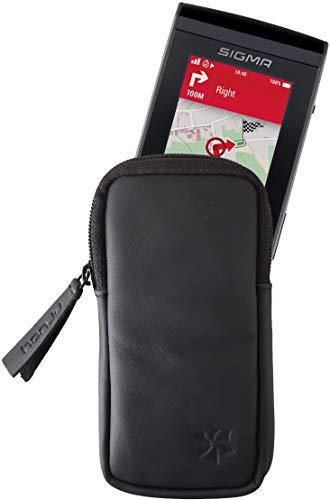 honju Bike Echtledertasche für Sigma ROX 12.0 Sport GPS Computer (Bildschirmschutz, Innentasche für Schlüssel, Schutz vor Kratzer und Dreck) - schwarz