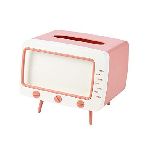 FLAMEER Titular de la Caja de pañuelos, dispensador Rectangular de la Caja del sostenedor de la servilleta con el sostenedor del teléfono para la decoración - Rosa