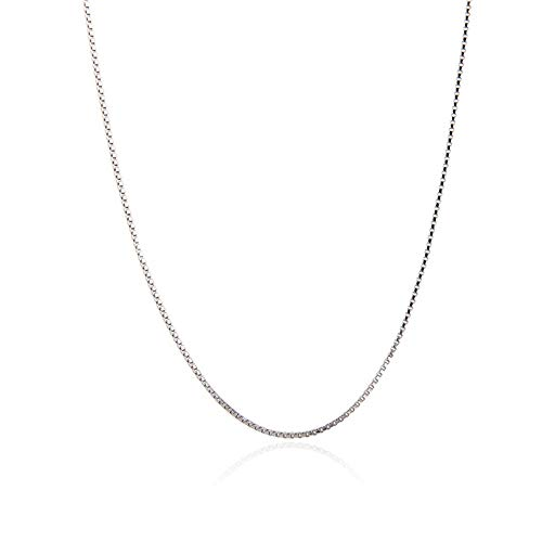 NY Jewelry 925 Sterling Silver Box Chain Necklace, 0.7mm Thin Strong 16''-26'' Chains for Women Gift Pendant Necklace
