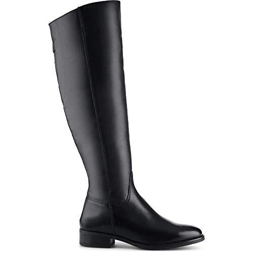 Cox Damen Leder-Stiefel, klassischer Langschaft-Stiefel in Schwarz mit eleganter Laufsohle, Schuhe mit dezentem Blockabsatz Schwarz Glattleder 38