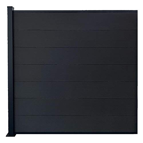 Red Deco - Kit de valla para jardín, paneles opacos de madera compuesta y aluminio, extensión 1,85 x 1,87 m