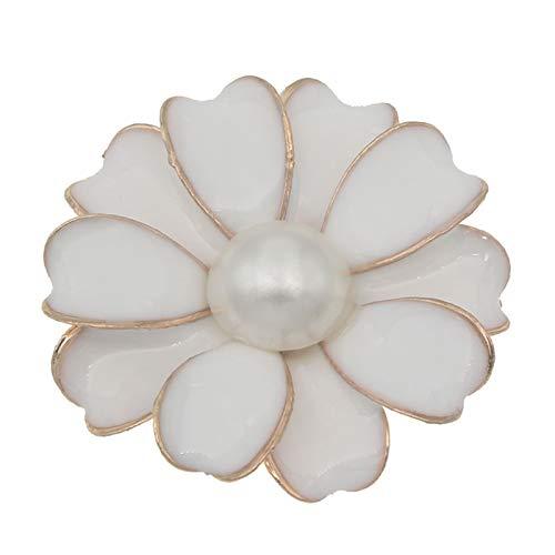 Botones 10pcs / Lote 32 mm Botón de Plateado para Arco de Bulbo Decorativo Artesanal para el Pelo de la Boda de la Flor de la Flor de los Accesorios de Broche (Farbe : White with Pearl)