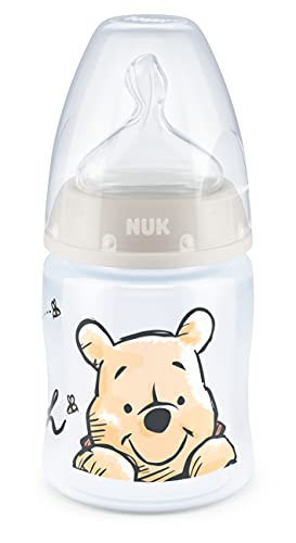 NUK First Choice+ Biberon| 0-6mois | Tétine en silicone | Valve anti-coliques | Sans BPA | 150 ml | Disney Winnie l'ourson