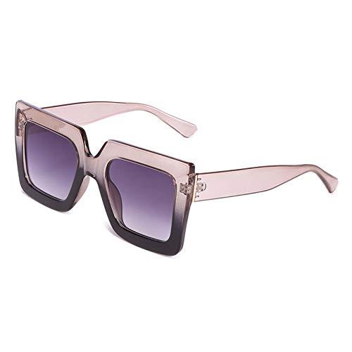 Moda Gafas De Sol Cuadradas De Moda para Mujer, Gafas De Sol De Gran Tamaño De Diseñador De Marca para Mujer, Uv400 para Mujer, Montura Grande, Sombras, Café