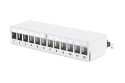 DIGITUS Professional , Modular Desktop Patch Panel, 12-Port, geschirmt, Grau