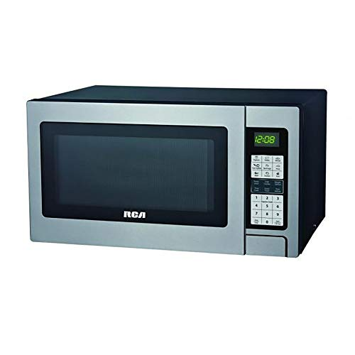RCA RMW1324 1100 Watt 1.3 Cubic Foot Kitchen Countertop Grill Microwave Oven with Digital Touch Controls and 10 Power Levels, Stainless Steel