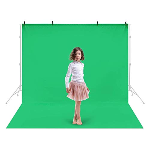 Amzdeal 10X13ft/3x4m Green Screen with 4 Backdrop Clamps Photography Backdrop Polyester-Cotton Blended Collapsible Backdrops for Photoshoot for Photo Video Studio Photography