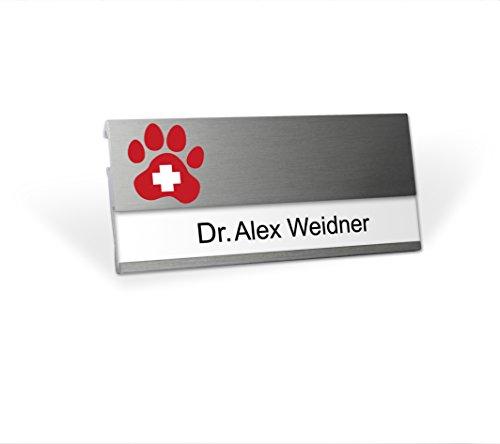 Aluminium Namensschild mit Logo Tierarzt magnetisch für Kleidung zum Anstecken Komplettset MSF Alu beschriften Magnet Clip Nadel Papier Drucketiketten A4 Magnetnamensschild bedrucken Veterinär Praxis
