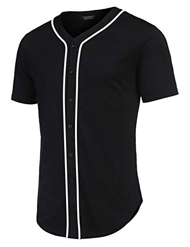COOFANDY Men's Baseball Team Jersey Button Down Shirt Short Sleeve Top Black