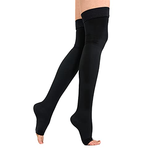Product Image of the Thigh High Compression Stockings 20-30mmHg Open-Toe for Men and Women Support...