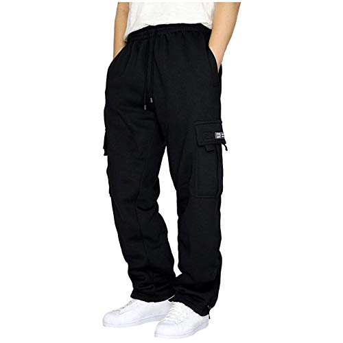 Salalooks Jogginghose Herren Baumwolle Streetwear Design Herren Jogginghose Ohne Bündchen Lange Regular Fit Mode Sporthose für Männer Trainingshose Gym Freizeithose Loose Sweatpants (Black, XXL)