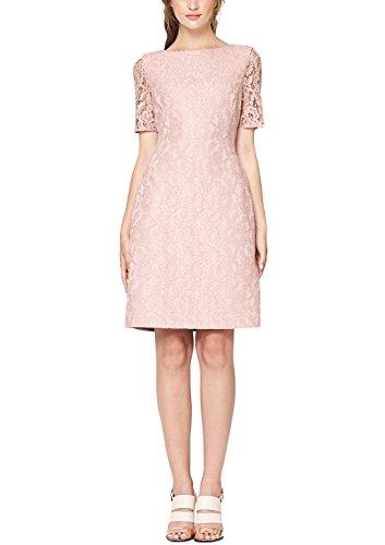 s.Oliver BLACK LABEL Damen Cocktail Kleid mit Spitze, Knielang, Einfarbig, Gr. 38, Rosa (faded rose 4056)