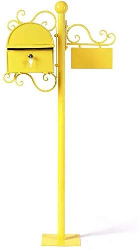 Afsluitbare mailbox Mailbox Brievenbus Post Box Home Aanbiedingen Steel Europese stijl metalen Iron Art Villa outdoor Pole Regendicht Storage Solid kleur Roestvrij staal mailbox (Color : Yellow)