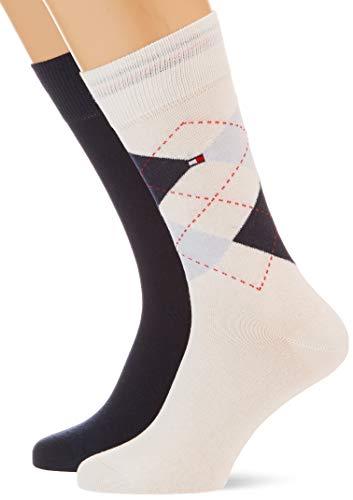 Tommy Hilfiger Herren Checkered Socken, Weiß Combo, 43/46
