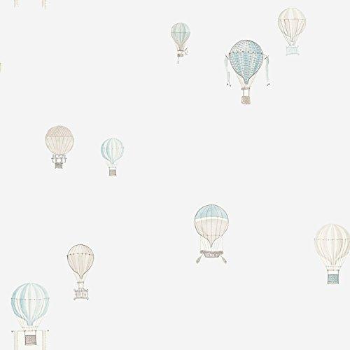 Casadeco 18996111 Papel pintado infantil con globos aerostáticos en color celeste, blanco roto y piedra
