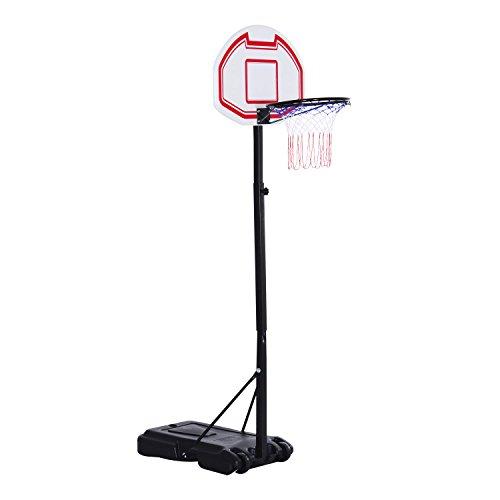 HOMCOM Kinder Basketballständer Basketballkorb mit Rollen Standfuß mit Wasser befüllbar Zielbretthöhe 194-249 cm PE + Stahl Schwarz