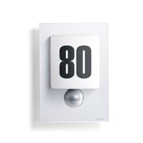 Steinel LED Wandleuchte mit Bewegungsmelder inklusive Hausnummer-Bogen/Glasblende silber / IP44 3838