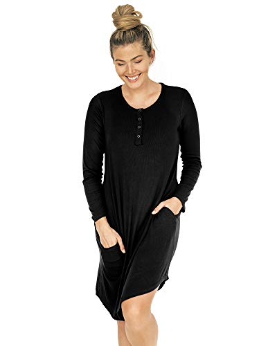 Kindred Bravely Betsy Bamboo Henley Nursing Nightgown | Long Sleeve Maternity Nightgown (Black, Large)