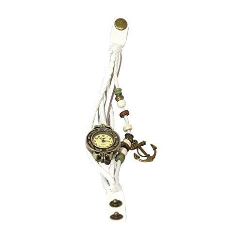 Beyond Dreams Vintage Leder Armband Uhr | Armbanduhr mit Anhängern für Damen Retro Vintage Design (Weiß)