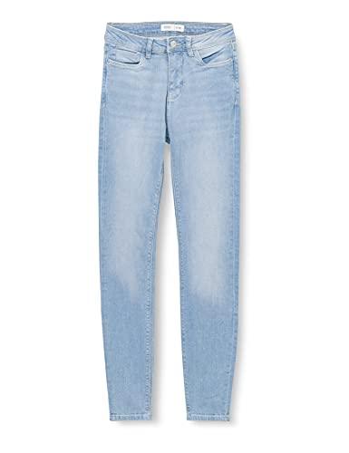 Springfield Jeans Slim Cropped Lavado Sostenible Pantalones, Azul Medio, 38