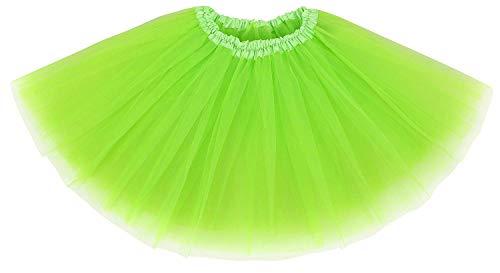 Ksnnrsng Damen Tütü Rock Minirock 3 or 5 Lagen Petticoat Tanzkleid Dehnbaren Tutu Rock Ballettrock Tüllrock für Party (Leuchtendes Grün)