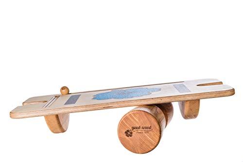 Good Wood Balance Gym - Premium Gleichgewichts-Wippe/Wackelbrett inkl. Faszien-Rolle (Indoor Skateboard)