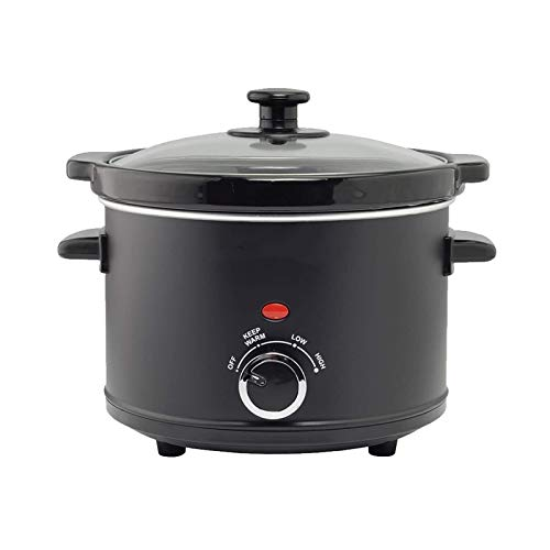 ZOBOLA Slow Cooker 2,5 Quart Crock Mit Easy Cooking Optionen Spülmaschinenfest Topf und Glasdeckel (Color : Black)