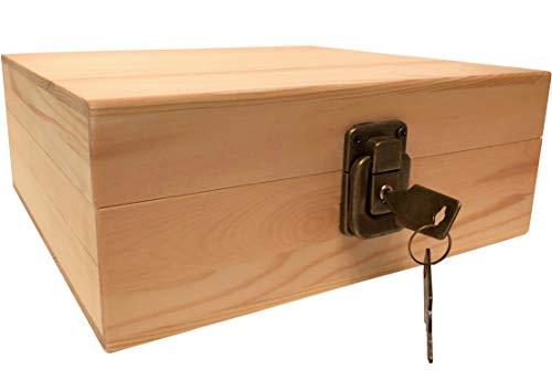Holz-Aufbewahrungsbox mit Rollbrett – Holz-Aufbewahrungsbox mit Deckel – Großer Holz-Aufbewahrungsbehälter – Riegelkasten mit Ablage, natürliches holz, Medium