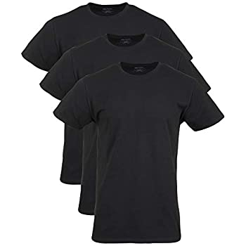 Gildan Men s Cotton Stretch Crew T-Shirts 3-Pack Black Soot  3-Pack  X-Large
