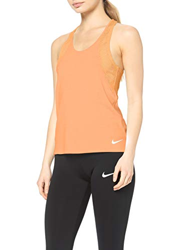 NIKE W Nk Run Tank Camiseta, Mujer, Multicolor (Fuel Orange/Reflective silv), XS