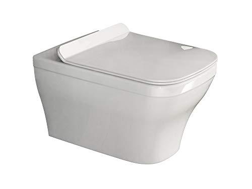 Aqua Bagno | Design Hänge-WC Firo | Toilette ohne Spülrand | Wandmontage | Softclose WC-Sitz | Keramik | Eckig | WC-Set