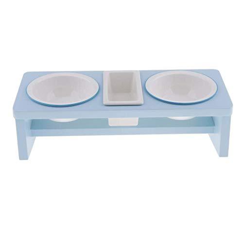 Nichttoxische Haustier-Fütterung Doppelschüsseln, Katzen- und Hunde-Lebensmittelgerichte, Keramik-Haustier-Feeder mit Holzständer für Haustierfutter-Lieferant - Himmelblau lalay ( Color : Sky Blue )