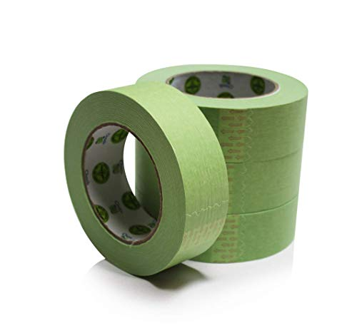 """Insta Finish Automotive Masking Tape 24 Rolls - Green Auto Masking Tape for Industrial and Commercial Use - Easy Stick and Release Automotive Paint Tape - Masking Paper Painting Tape - 1.5"""" Tape"""