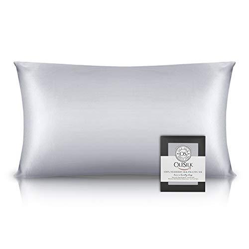 OLESILK 100% Seide Kissenbezug Kissenhülle Haar- und Hautpflege mit Reißverschluss 16 Momme 1 Stück Silbergrau 40×80cm