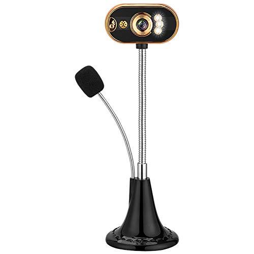 Video Webcam Computer, LED HD Webcam Desktop Video Computer PC USB con La Macchina Fotografica del Microfono di Visione Notturna, per Network Conference Insegnamento,d'oro