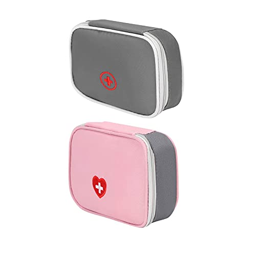 2 Piezas Kit de Primeros Auxilios, Bolsa de Almacenamiento de Primeros Auxilios, Botiquín de Primeros Auxilios con Cremallera, para Cinta Adhesiva, Imperdibles y Accesorios Médicos, Tijeras(2 Colores)