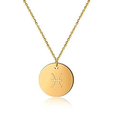 GD Good.Designs ® Goldene Damen Halskette mit Sternzeichen (Fische) Tierkreiszeichen Schmuck mit Horoskop (Pisces) Sternzeichenhalskette goldenekette damenkette frauenschmuck kettegold