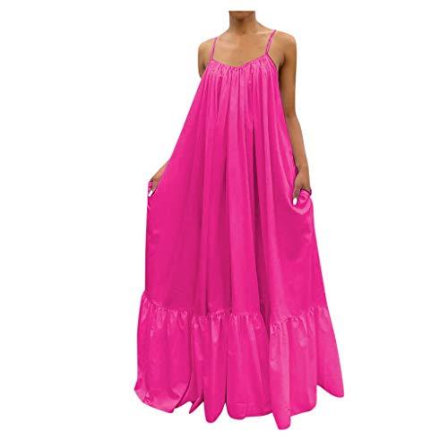 Plus Size Women's Sleeveless Halter Dress Summer Loose Solid Color Casual Long Lotus Hem Maxi Dress Sun Dress Party Beach Dress Lightweight Dress Hot Pink