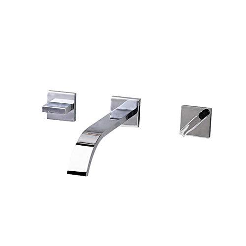 Semplice cromato moderno rame, stile europeo, caldo e freddo, bagno, miscelatore lavabo, parete, incasso, tre fori, doppia maniglia, rubinetto a cascata