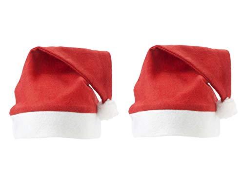 sellaviva 2er-Pack Weihnachtsmütze-Weihnachtsmann-Nikolausmütze Wichtelmütze - Weihnachtsfeier