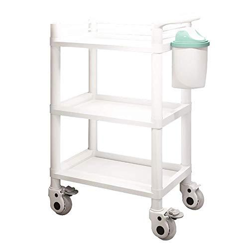 Zhao Li wit-dienstprogramma rolwagen, 3-dieren planken met handgrepen voor hospital Medical schoonheidssalon, Medical Carts, Mobile Care wagen