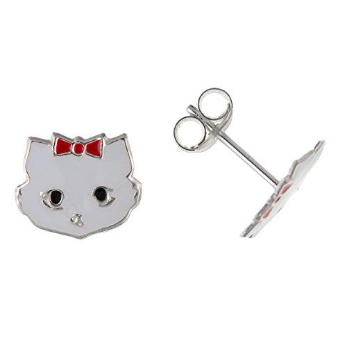 Hello Kitty Style bianco orecchini in argento Sterling smaltato gatto/gattino/orecchini–Bambini gioielli