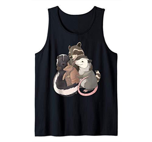 Abrazo grupal: mapache, zarigüeya, mofeta y armadillo Camiseta sin Mangas