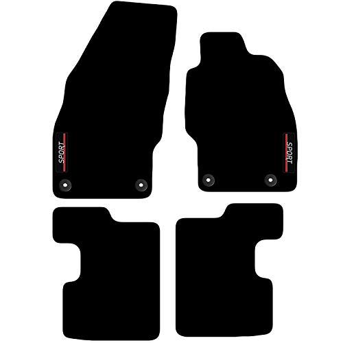 Carsio L64-CARP-CUT-1312-(33 x 4) Alfombrillas a Medida para Opel Corsa D & E 2007 a 2019 con Logotipo, Color Negro