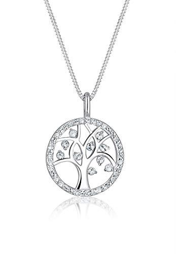 Elli Halskette Damen Lebensbaum Anhänger Schlicht mit Swarovski® Kristallen aus 925 Sterling Silber