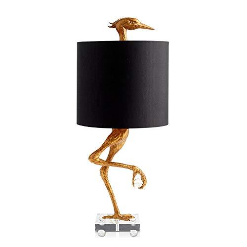 SXNYLY Resina de Noche Creativo Estudio de la lámpara de América Cama Dormitorio de la lámpara de la Personalidad del Flamenco Mesa LED decoración de la lámpara Pantalla de la Tela